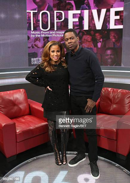 106 Park host Keshia Chante and actor Chris Rock attends 106 Park at BET studio on December 8 2014 in New York City