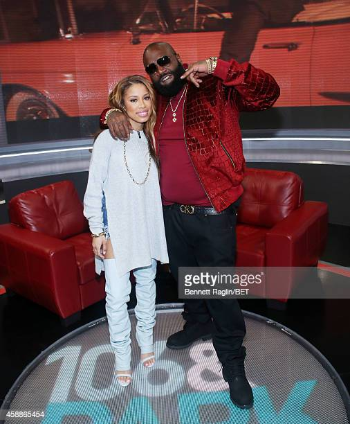 106 Park host Keshia Chante and recording artist Rick Ross attend 106 Park at BET studio on November 12 2014 in New York City