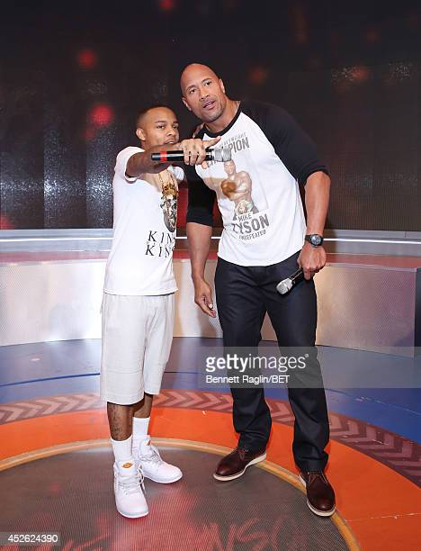 106 Park host Shad Moss and actor Dwayne Johnson attend 106 Park at BET studio on July 22 2014 in New York City