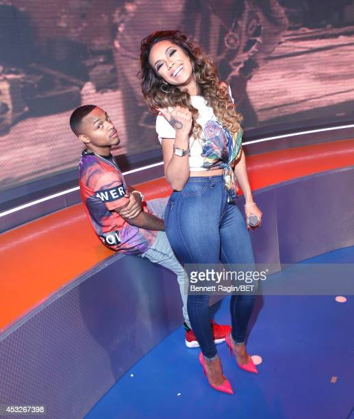 106 Park host Shad Moss and guest host Erica Mena visits 106 Park at BET studio on August 6 2014 in New York City