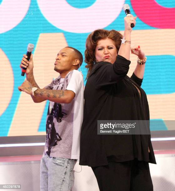 106 Park host Shad Moss and TV personality Abby Lee Miller attend 106 Park at BET studio on July 16 2014 in New York City