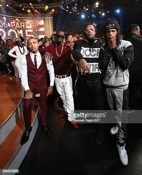 106 Park host Shad Moss Bobby Shmurda and Rowdy Rebel attend 106 Party at BET studio on December 12 2014 in New York City