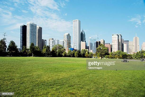 Park in front of skyscrapers in a city, Chicago, Illinois, USA