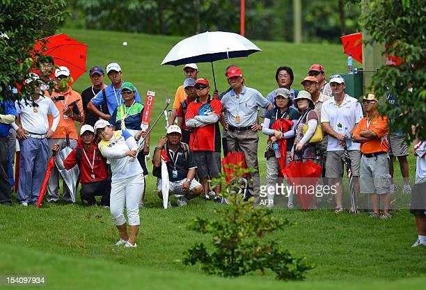 Park Inbee of South Korea plays a shot on the 18th hole during the final round of the Sime Darby LPGA Malaysia 2012 golf tournament at the Kuala...