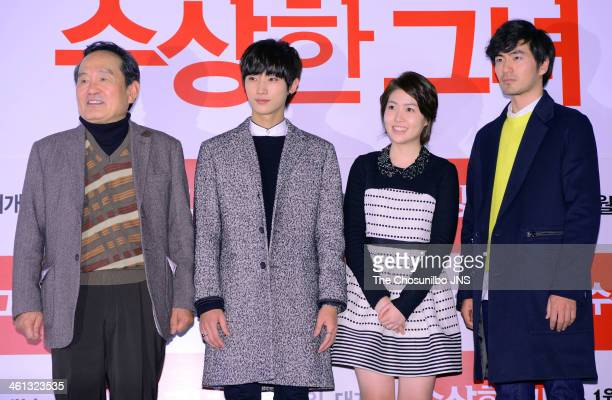 Park InHwan Jung JinYoung Sim EunKyung and Lee JinUk attend the movie 'Miss Granny' press conference at Wangsimni CGV on January 6 2014 in Seoul...