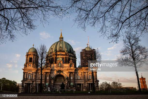 Park is almost empty at the Lustgarten next to Berliner Dom during the coronavirus pandemic on April 17 in Berlin, Germany. As the rate of new...