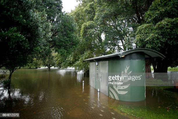 A park is flooded in Glendowie on April 05 2017 in Auckland New Zealand Torrential rain has hit the North Island as the remants of Cyclone Debbie...