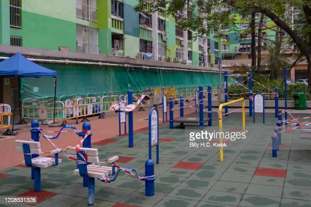 A park is seen taped off to make sure people adhere to social distancing during a coronavirus on March 29 2020 in Hong Kong China Latest statistics...