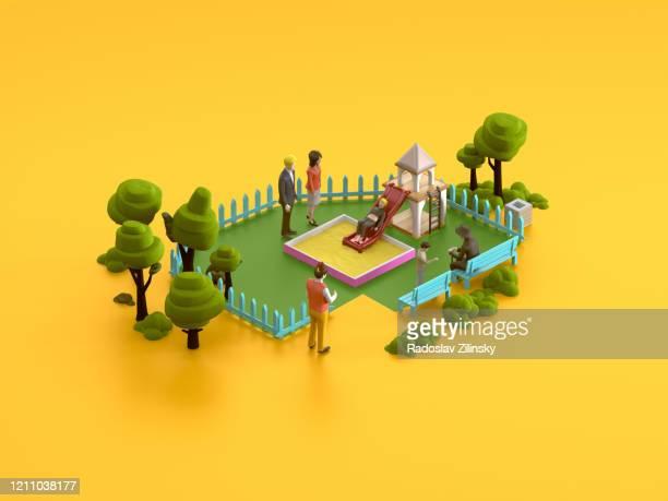 park isometric scene on orange background - isometric stock pictures, royalty-free photos & images