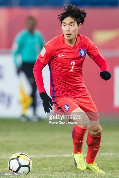 Park JaeWoo of South Korea in action during the AFC U23 Championship China 2018 Semifinals match between Uzbekistan and South Korea at Kunshan...