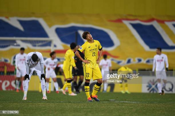 Park Jeongsu of Kashiwa Reysol shows frustration after the 11 draw in the AFC Champions League match between Kasshiwa Reysol and Tianjin Quanjian at...