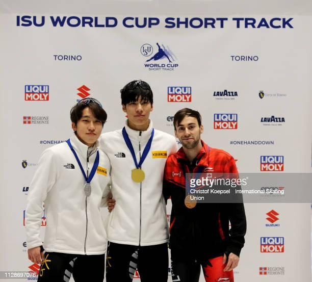 Park Ji Won of Republic of Korea celebrates winning the second place Hwang Daeheon of Republic of Korea celebrates winning the first place and Steven...