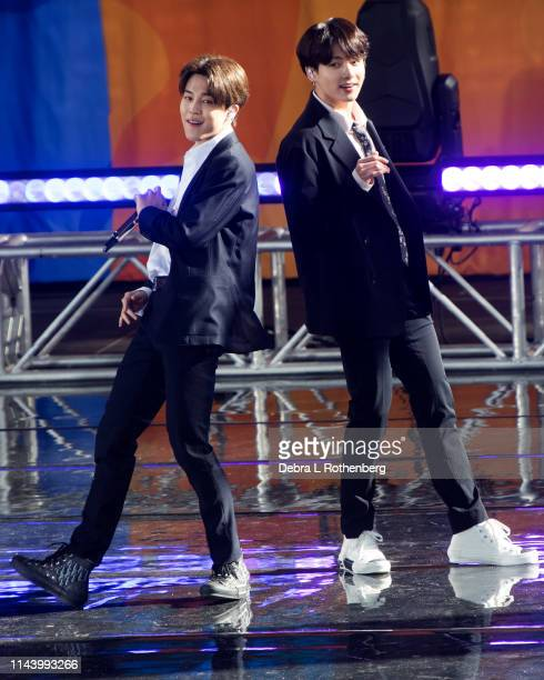 Park Jimin and Jungkook of BTS perform on Good Morning America's Summer Concert Series from Rumsey Playfield in Central Park on May 15 2019 in New...