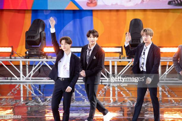 Park Jimin Jungkook and Kim Seokjin of BTS perform on Good Morning America on May 15 2019 in New York City