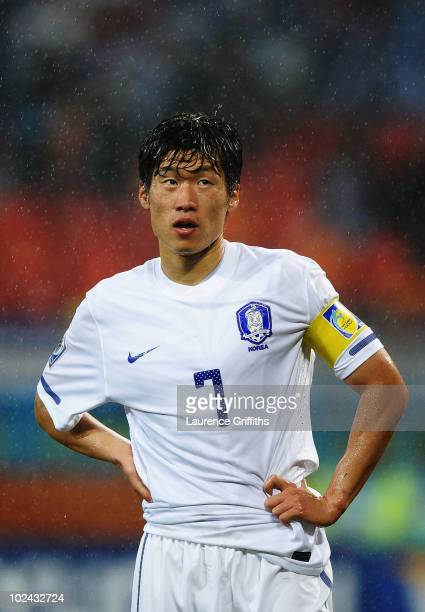 Park Ji-Sung of South Korea looks on during the 2010 FIFA World Cup South Africa Round of Sixteen match between Uruguay and South Korea at Nelson...
