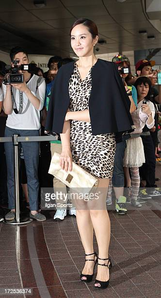 Park JiYoon attends Han HyeJin and Ki SungYueng wedding at Intercontinental hotel on July 1 2013 in Seoul South Korea