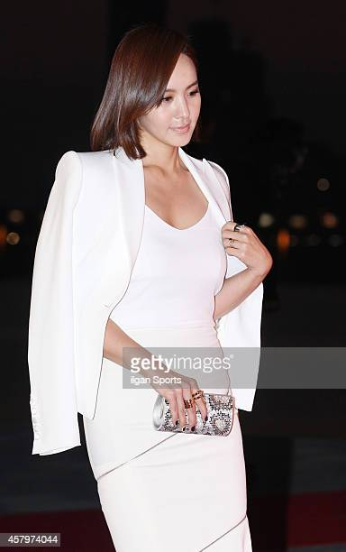 Park JiYoon poses for photographs during the W Korea campaign Love Your W party at Fradia on October 23 2014 in Seoul South Korea