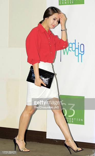 Park JungAh attends Jang YoonJung and Do KyungWan Wedding at 63 building convention center on June 28 2013 in Seoul South Korea