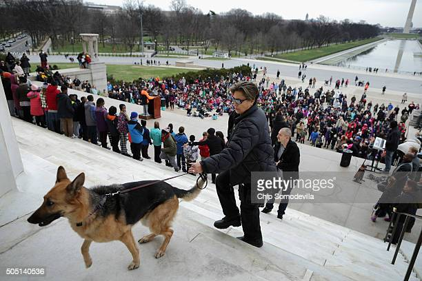 S Park Police German shepard K9 officer and her dog patrol the Lincoln Memorial as fifthgraders from Peabody and Watkins Cluster Community School...