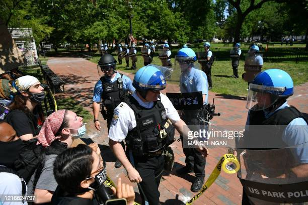 US Park Police string security tape around Lafayette Square near the White House in Washington DC on June 1 2020 Police fired tear gas outside the...