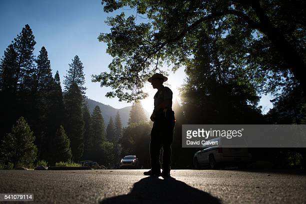 A park ranger directs traffic ahead of President Barack Obama's speech on June 18 2016 in Yosemite National Park California Obama will speak to a...