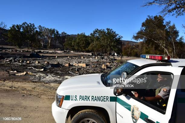 A Park Ranger looks on near the Paramount Ranch where the television show Westworld was filmed after it was left in ruins from the Woolsey fire on...