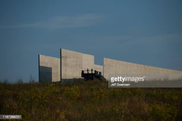Park rangers look out over the grounds before US Vice President Mike Pence delivers a speech at the Flight 93 National Memorial on September 11 2019...