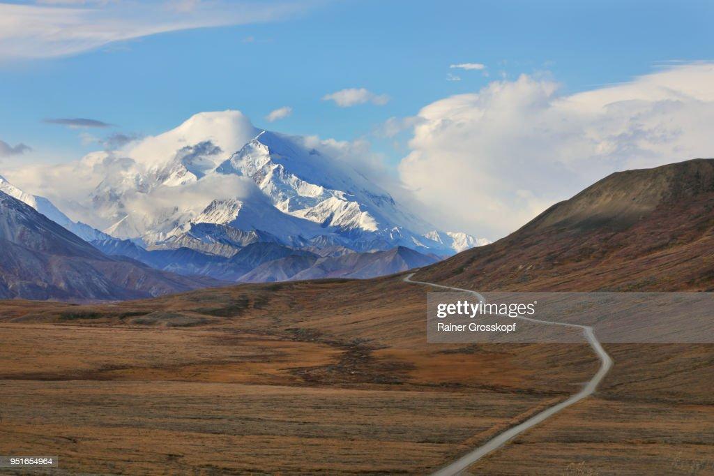 Park road in autumn landscape leading toward Mount Denali : Stock-Foto