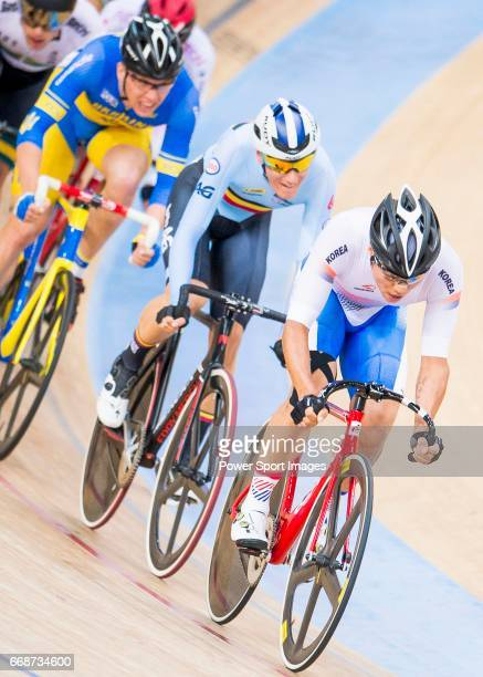 Park Sanghoon of Korea competes in the Men's Omnium Scratch during 2017 UCI World Cycling on April 15 2017 in Hong Kong Hong Kong