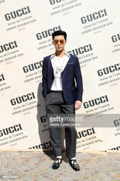 Park Seo Jun arrives at the Gucci show during Milan Fashion Week Spring/Summer 2018 on September 20 2017 in Milan Italy