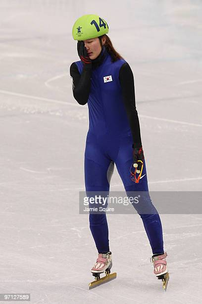 Park SeungHi of South Korea reacts after winning the bronze medal in the women's 1000m Short Track Speed Skating Final on day 15 of the 2010...