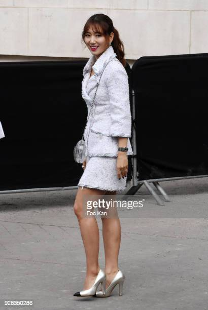 Park Shin Hye attends the Chanel show as part of the Paris Fashion Week Womenswear Fall/Winter 2018/2019 at Le Grand Palais on March 6 2018 in Paris...