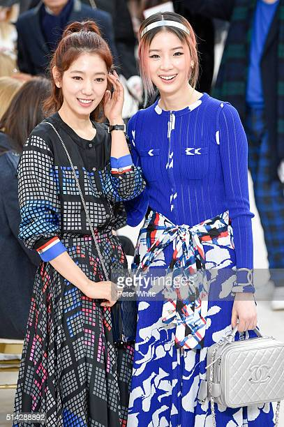 Park Shinhye and Irene Kim attend the Chanel show as part of the Paris Fashion Week Womenswear Fall/Winter 2016/2017 on March 8 2016 in Paris France