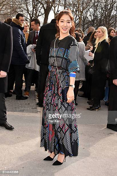 Park Shinhye arrives at the Chanel show as part of the Paris Fashion Week Womenswear Fall/Winter 2016/2017 on March 8 2016 in Paris France