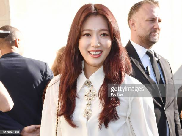 Park Shinhye poses during the Chanel show as part of the Paris Fashion Week Womenswear Spring/Summer 2018 on October 3 2017 in Paris France