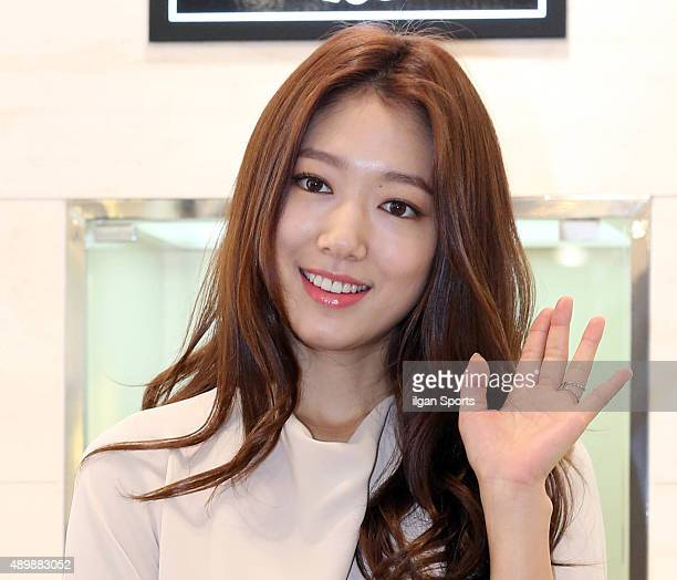 Park ShinHye poses for photographs during the BRUNOMAGLI 'Love Bag' event at Myeongdong on September 19 2015 in Seoul South Korea