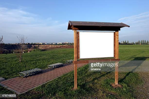 park sinal com espaço para texto - coluna de madeira - fotografias e filmes do acervo