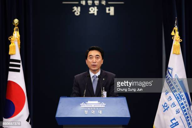 Park SooHyun spokesman for the South Korean presidental Blue House speaks at a news briefing following the announcement that North Korea conducted a...