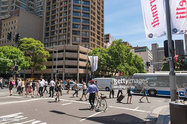 park street, sydney australia - pedestrian crossing sign stock photos and pictures