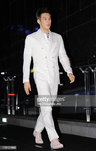 Park TaeHwan attends the 'Louis Vuitton' Global Store Opening at Hyun Dai Department store on July 5 2013 in Seoul South Korea