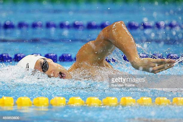 Park Taehwan of South Korea competes in the Men's 200m Freestyle during day two of the 2014 Asian Games at Munhak Park TaeHwan Aquatics Center on...