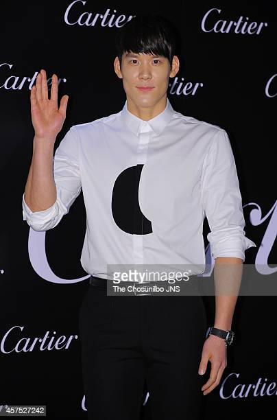 Park TaeHwan poses for photographs during the Cartier 'Panthere de Cartier' jewelry event at Sheraton Grande Walkerhill on October 16 2014 in Seoul...