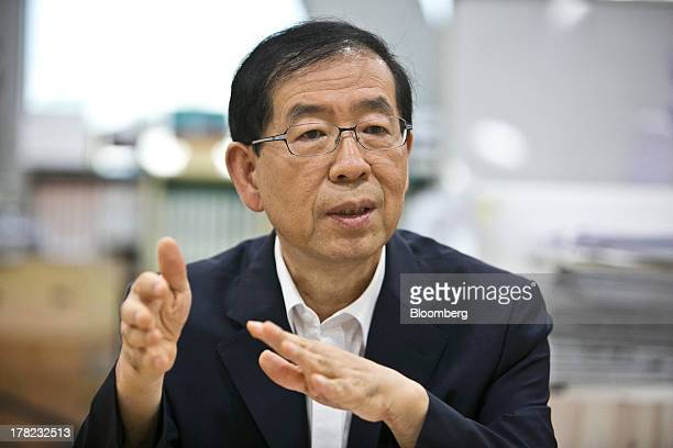 Park Won Soon mayor of Seoul gestures as he speaks during an interview in his office at City Hall in Seoul South Korea on Tuesday Aug 27 2013 South...