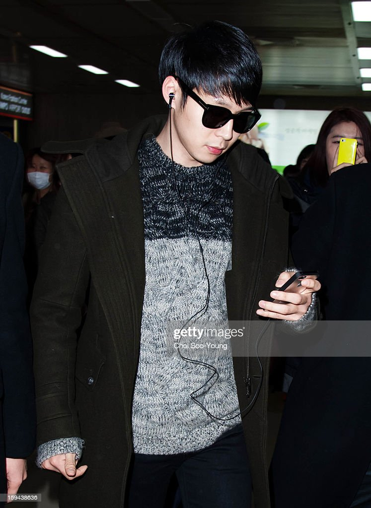 Park Yoo-Chun is seen at Gimpo International Airport on January 12, 2013 in Seoul, South Korea.