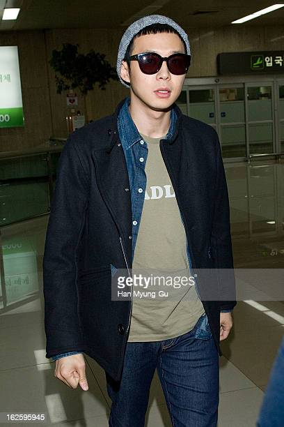 Park YooChun is seen upon arrival at Gimpo International Airport on February 25 2013 in Seoul South Korea
