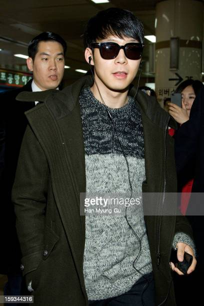 Park YooChun of South Korean boy band JYJ is seen at Gimpo International Airport on January 12 2013 in Seoul South Korea