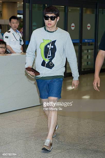 Park YooChun of South Korean boy band JYJ is seen upon arrival at Incheon International Airport on June 15 2014 in Incheon South Korea