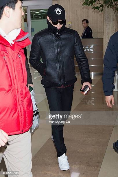 Park YooChun of South Korean boy band JYJ is seen upon arrival at Gimpo International Airporrt on December 16 2014 in Seoul South Korea