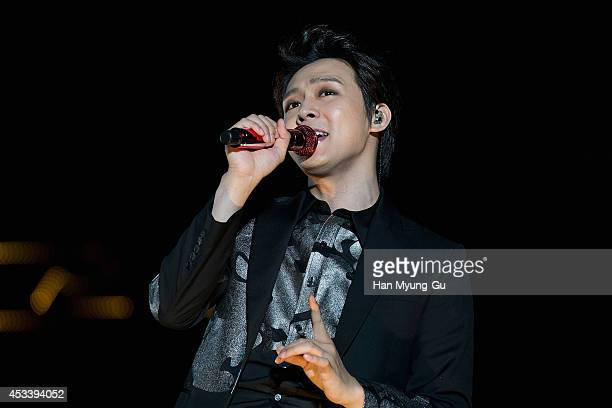 Park YooChun of South Korean boy band JYJ performs onstage during the 2014 JYJ Asia Tour 'The Return Of The King' at Olympic Stadium on August 9 2014...