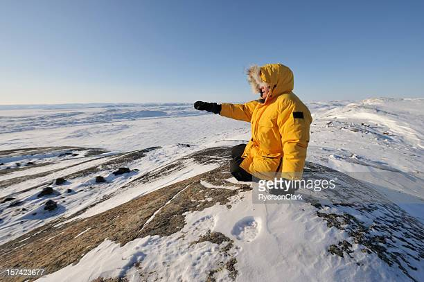 parka man, high arctic, baffin island. - north stock pictures, royalty-free photos & images